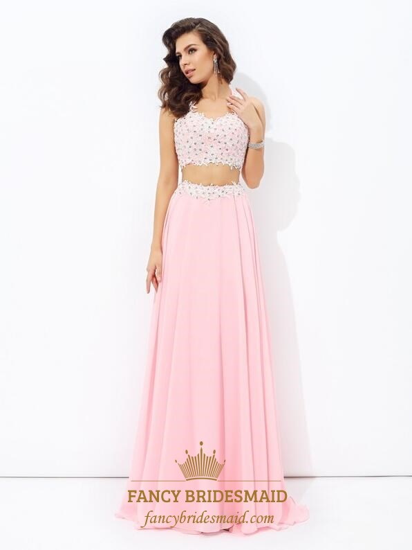 3d0054051a Pink V-Neck Beaded Sleeveless Two Piece Prom Dresses With Applique SKU  -FS3646