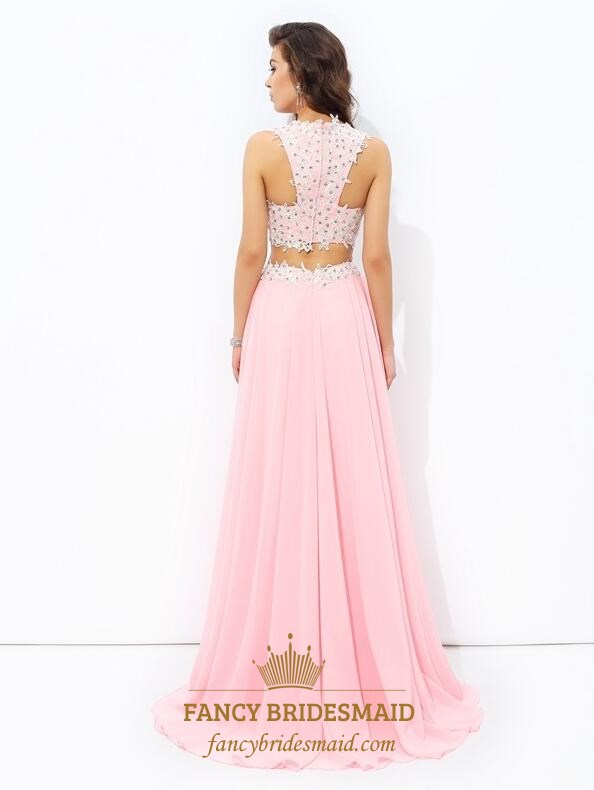 5d7585aae1 Pink V-Neck Beaded Sleeveless Two Piece Prom Dresses With Applique ...