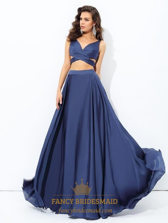 Navy Blue Side Cutout Two Piece Long Prom Dress With Illusion Bodice ...