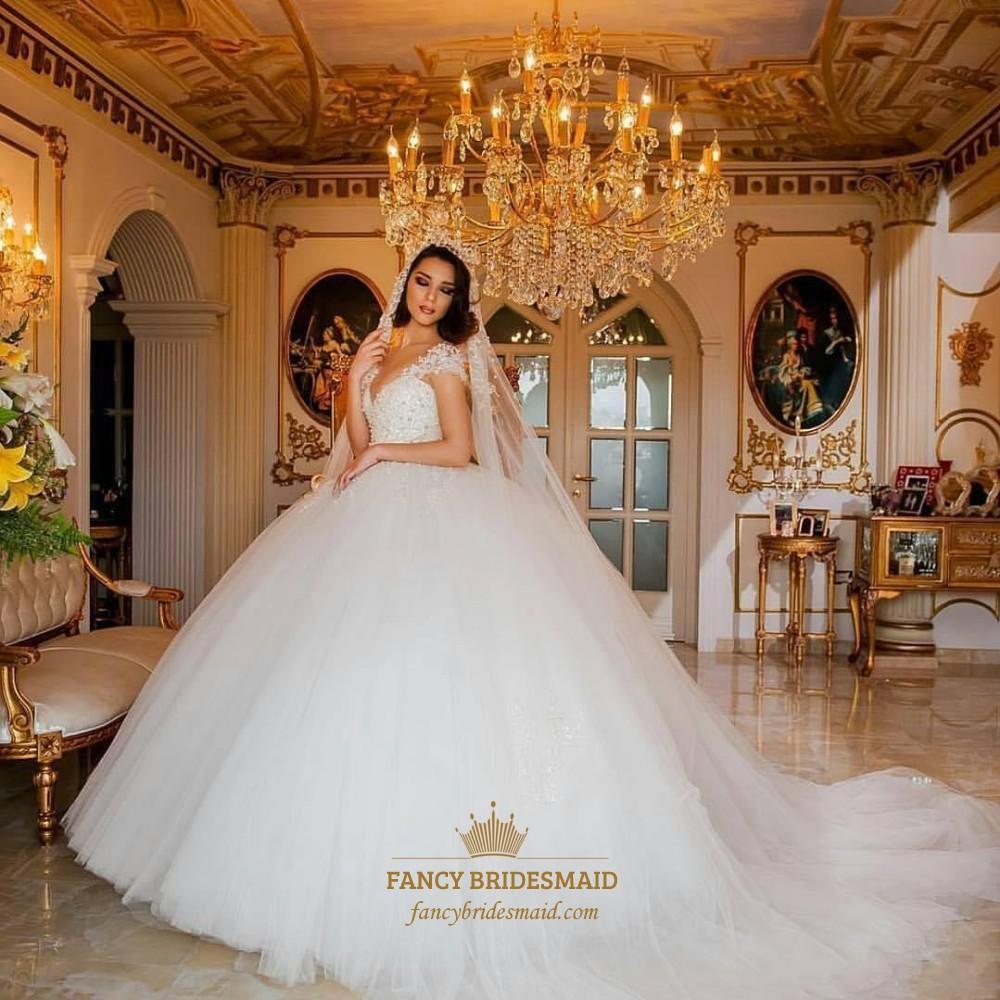 Sweetheart Cap Sleeve Beaded Ball Gown Wedding Dress With Long Train ...