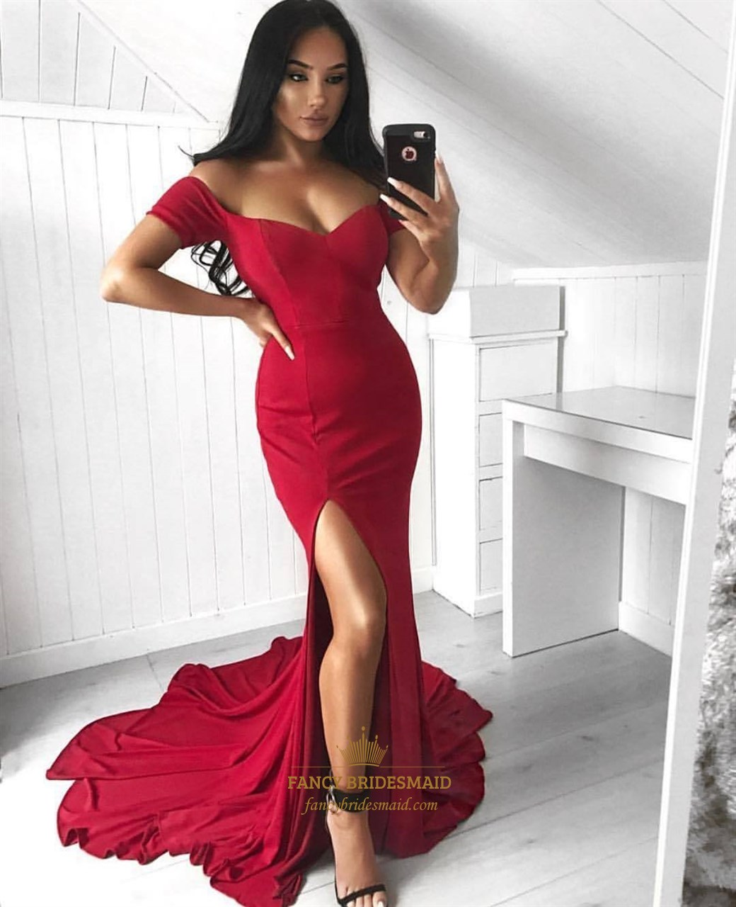 a6a8cc24d4984 Red Sweetheart Short Sleeve Mermaid Prom Dress With Split And Train SKU  -FS3693