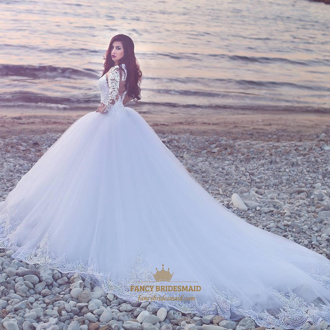 Ivory Jewel Long Sleeve Long Train Ball Gown Tulle Wedding