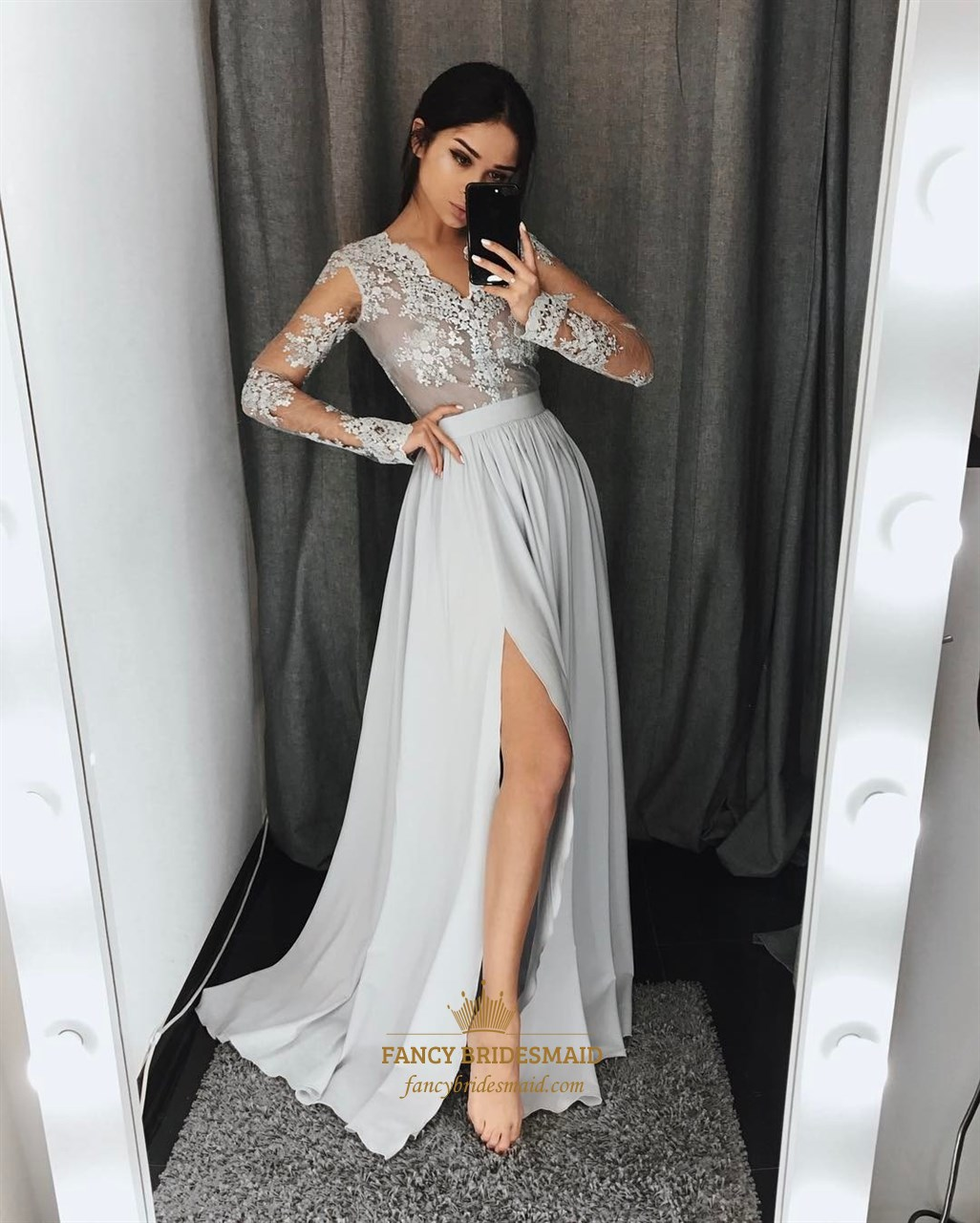 9fa3bde59e Grey V Neck Long Sleeve Applique Pleated Prom Dress With Split SKU -FS3699