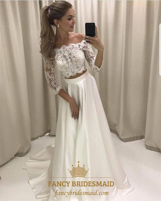 White Off The Shoulder Two Piece Satin Prom Dress With 3/4 Sleeve ...
