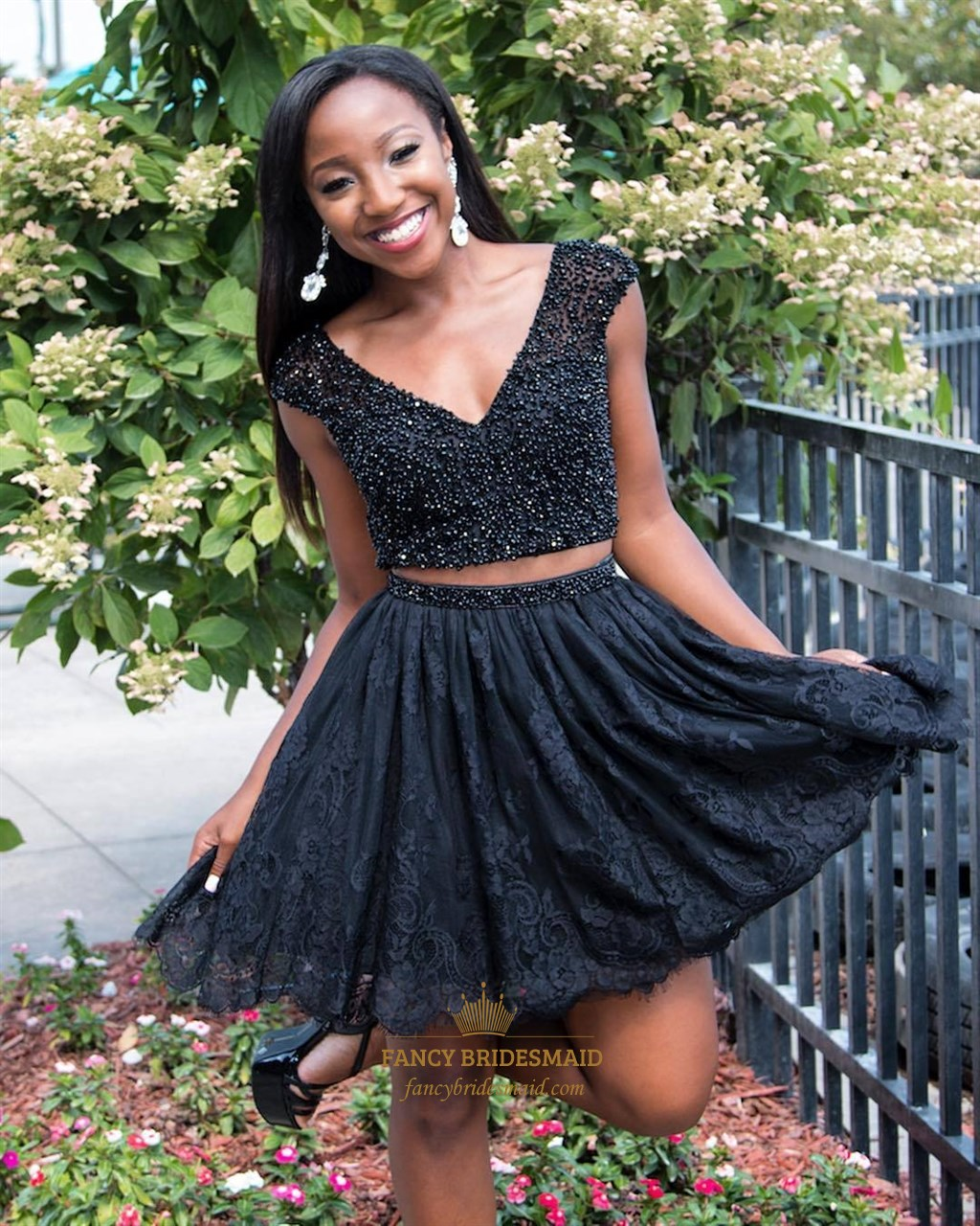 1118be703fb Short Homecoming Dress With Lace Bodice