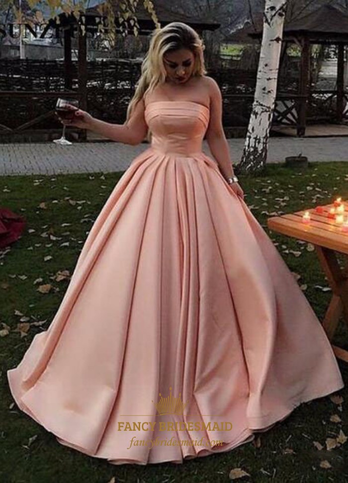 Pink Strapless Sleeveless Ruched Waist Satin Ball Gown