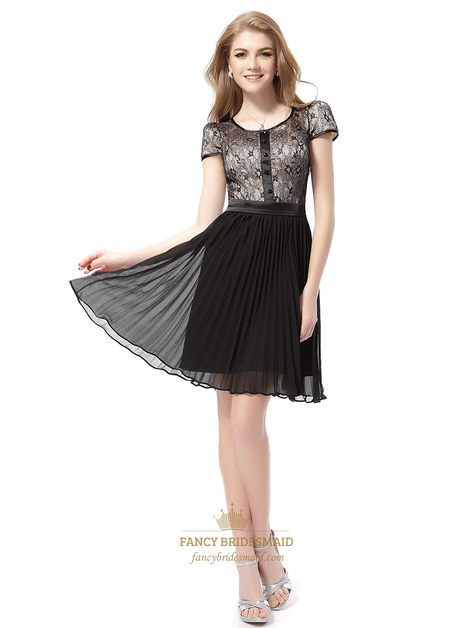 Black Short Sleeve Lace Pleated Chiffon Dress,Black Lace Cocktail ...