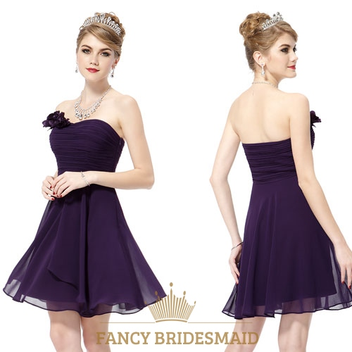 Short Dark Purple Bridesmaid Dresses Under 100 Eggplant