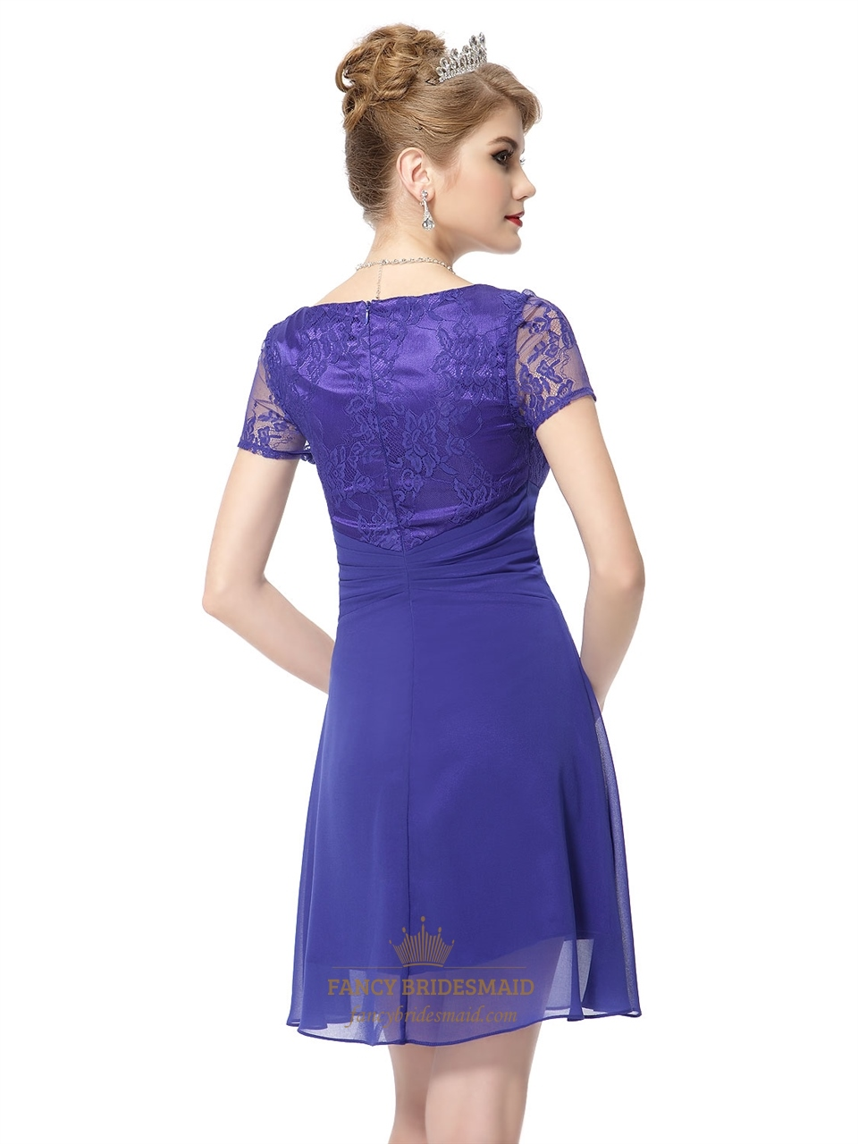 Blue Cap Sleeve Skater DressShort Blue Prom Dresses With Sleeves And Lace Overlay | Fancy ...