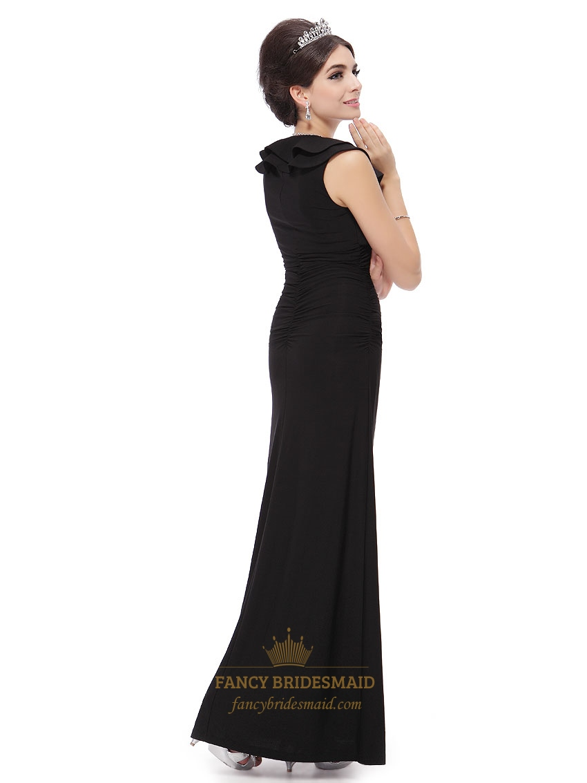 Prom Dresses Black Long Dresses With Short Sleeves,Black Long Prom ...