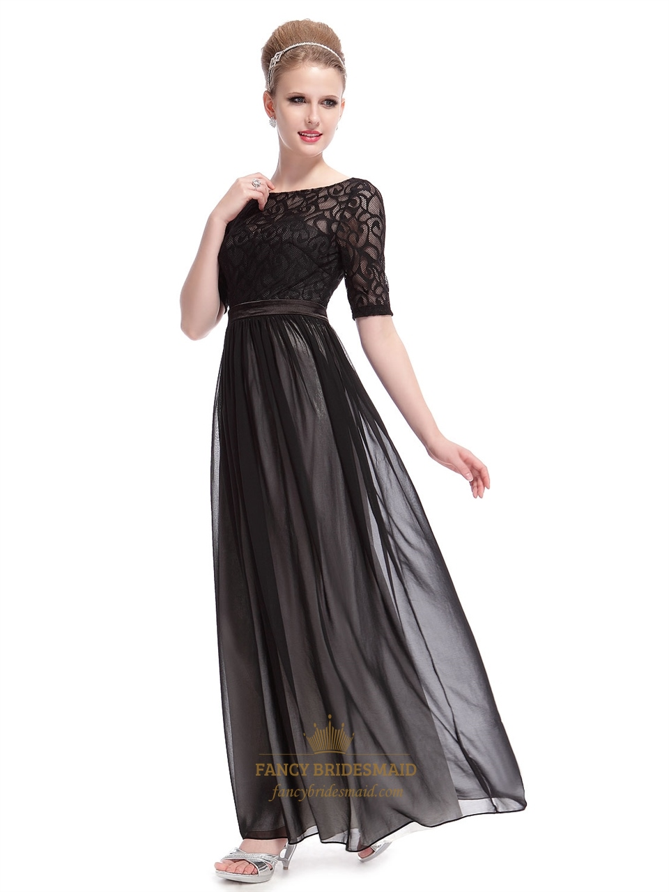 6444b7ae63db Elegant Black Dresses With Lace Long Sleeves Overlay,Long Black Maxi Dress  With Sleeves SKU -F489