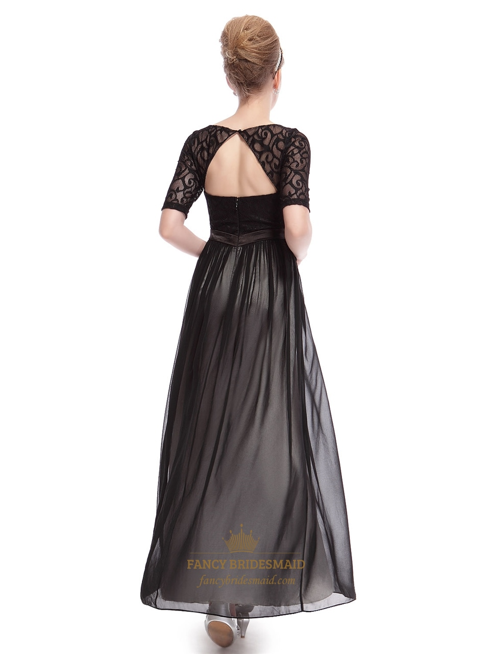 Elegant Black Dresses With Lace Long Sleeves Overlay,Long Black ...