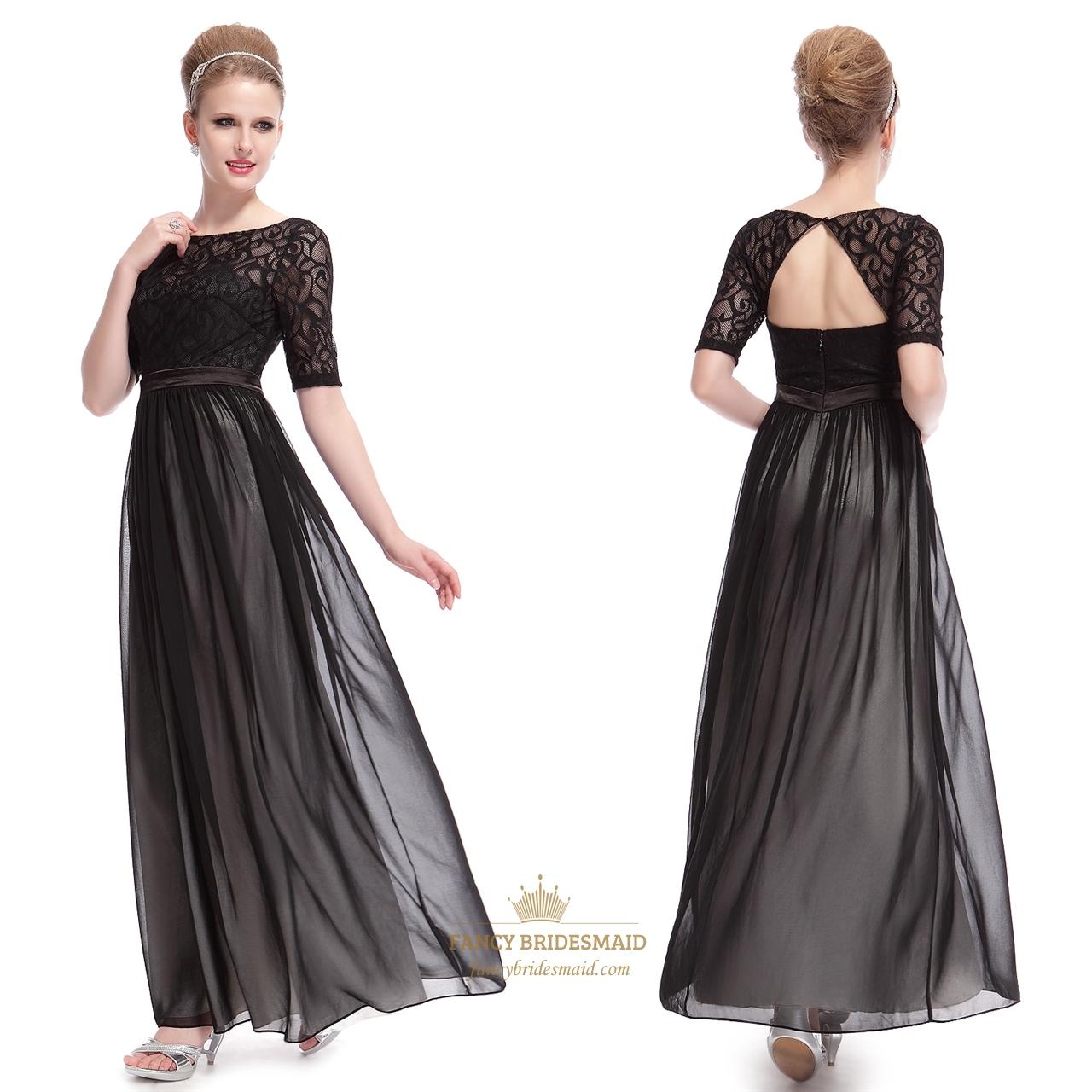 elegant black dresses with lace long sleeves overlaylong