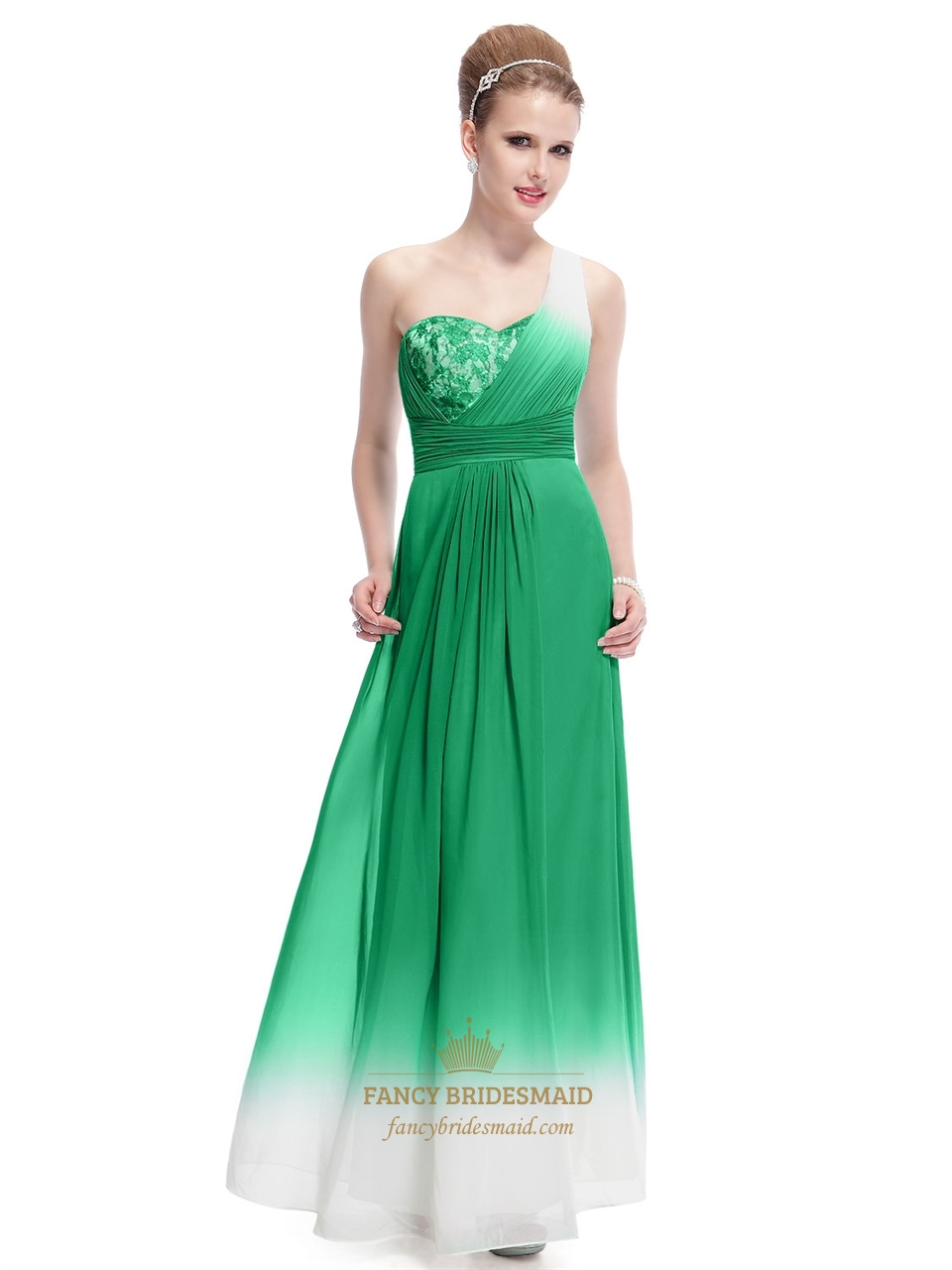 Green And White Dress For Party,Green One Shoulder Chiffon Dress ...