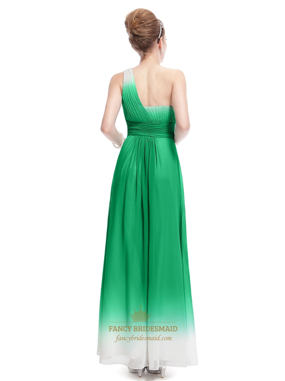 Green And White Dress For Party Green One Shoulder Chiffon