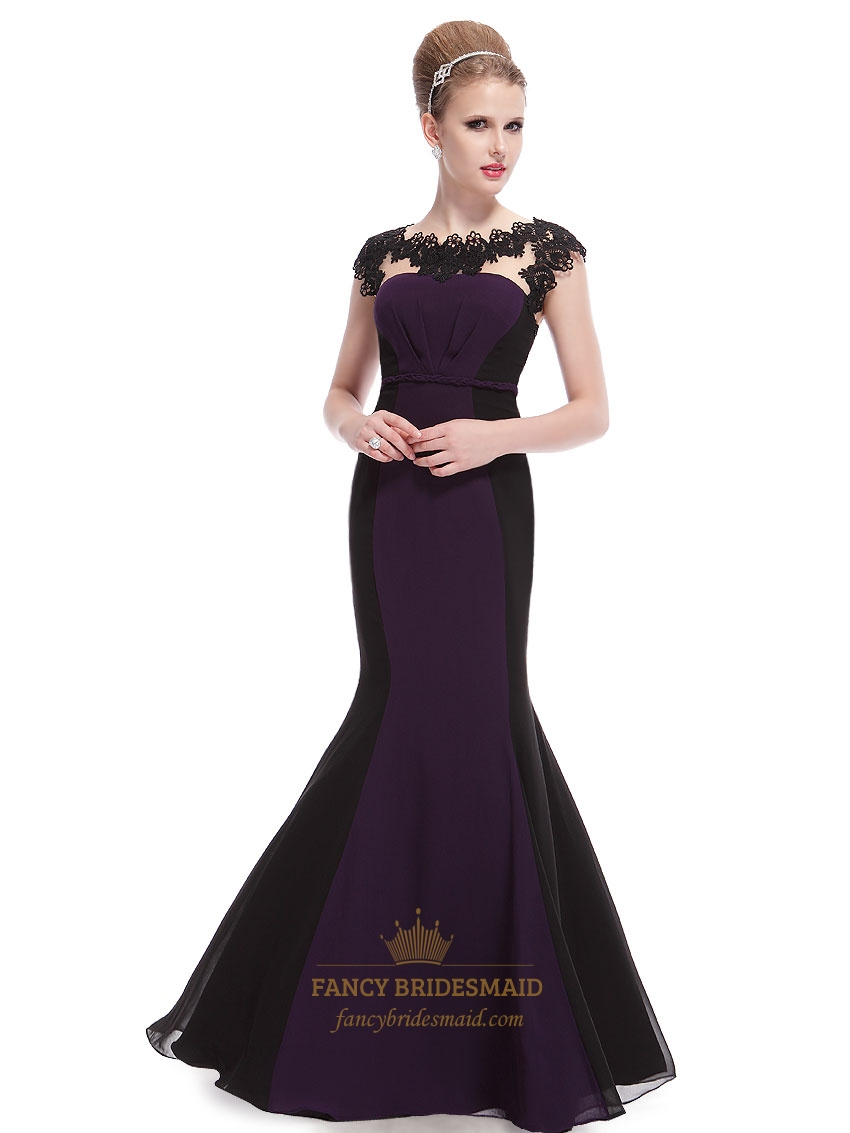 Dark Purple And Black Prom Dresses,Dark Purple Mermaid Prom Dresses With Lace Cap Sleeves
