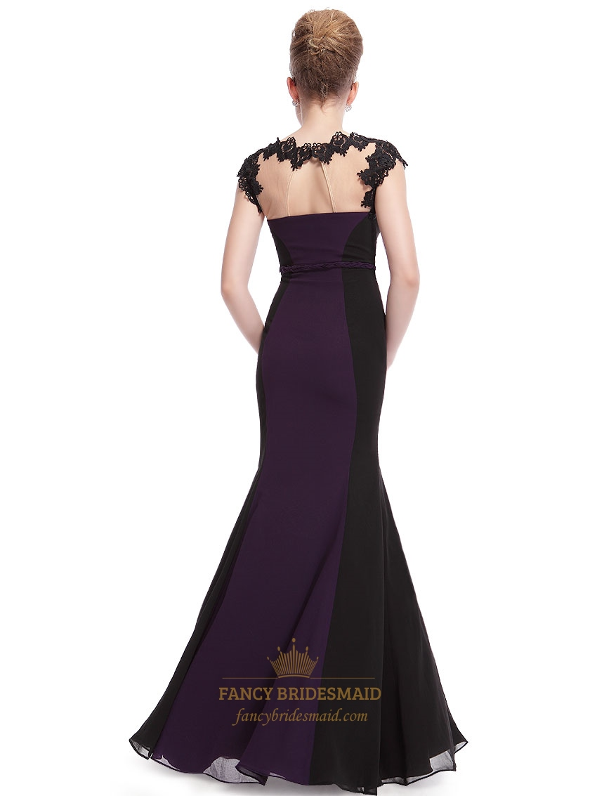 Dark Purple And Black Prom Dresses Dark Purple Mermaid