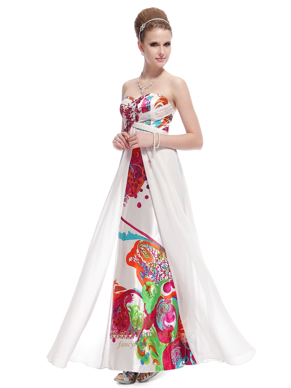 White Long Floral Printed Dress,Strapless Floral Maxi Dress,White ...