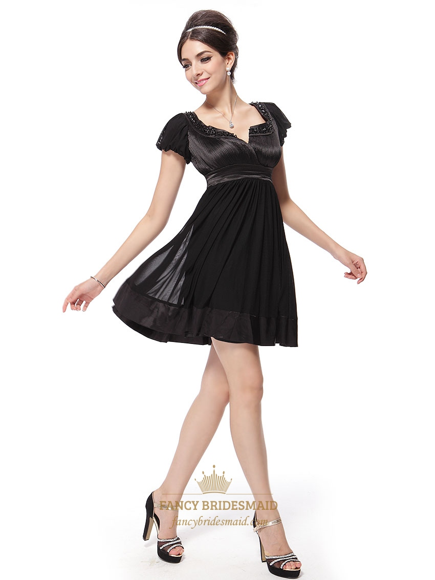 Black Cocktail Dresses With Cap Sleevesblack Cocktail Dresses For