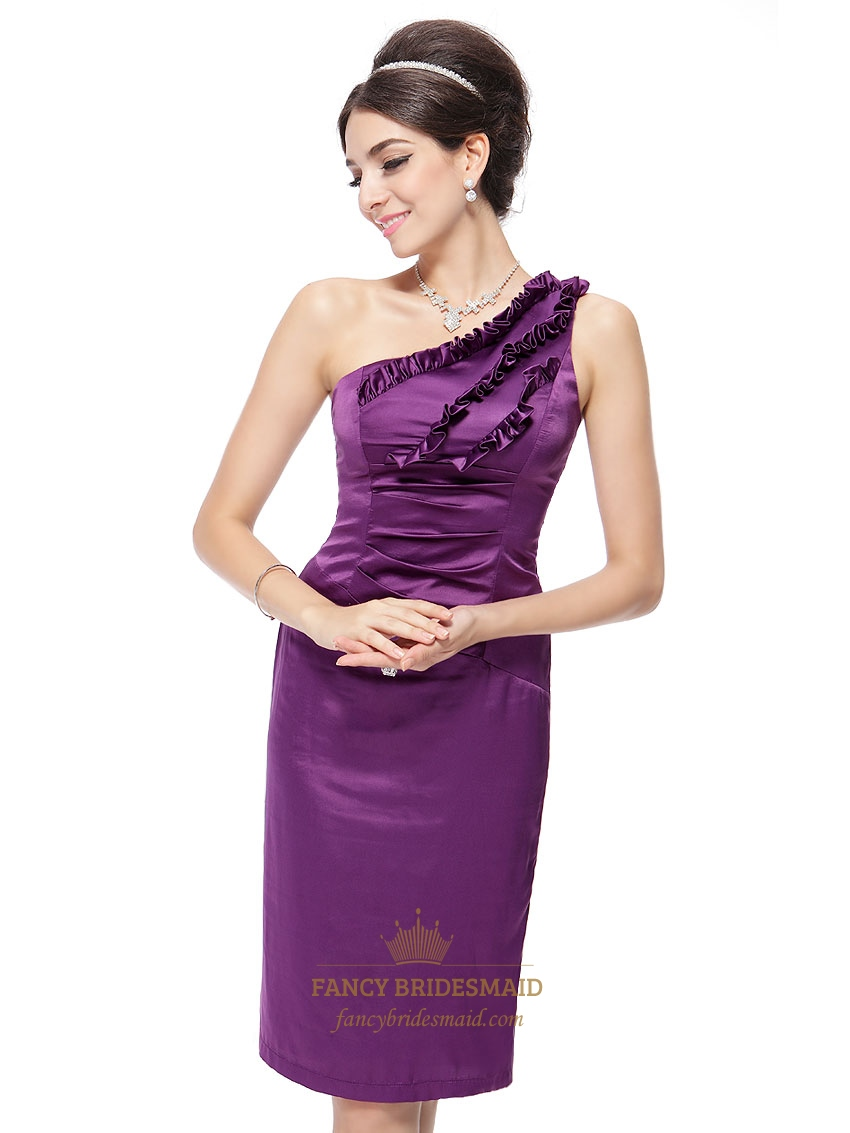 Purple One Shoulder Formal Dress With Ruffles,Short One Shoulder Purple Bridesmaid Dresses