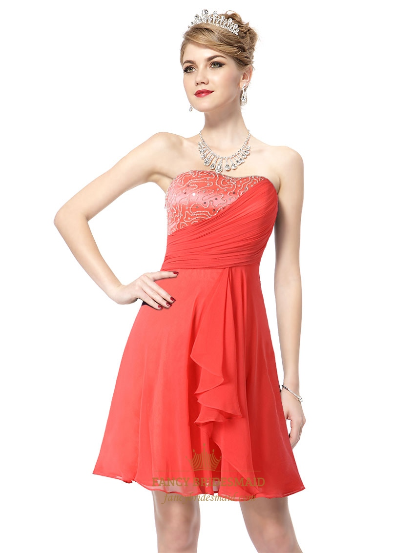 Short Coral Graduation DressesShort Coral Colored Bridesmaid ...