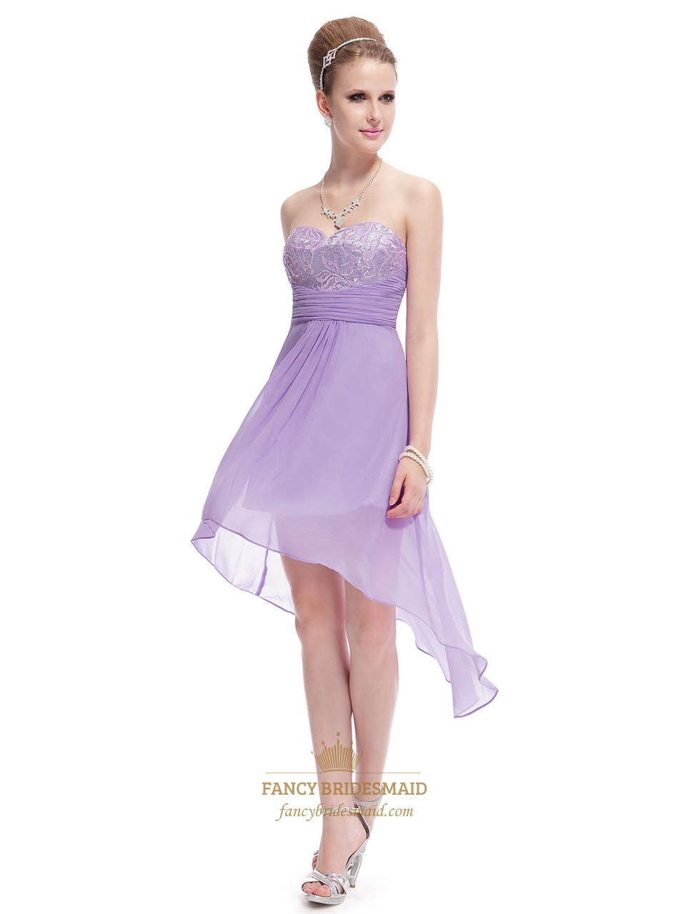 short lilac bridesmaid dresses chiffon lilac high low