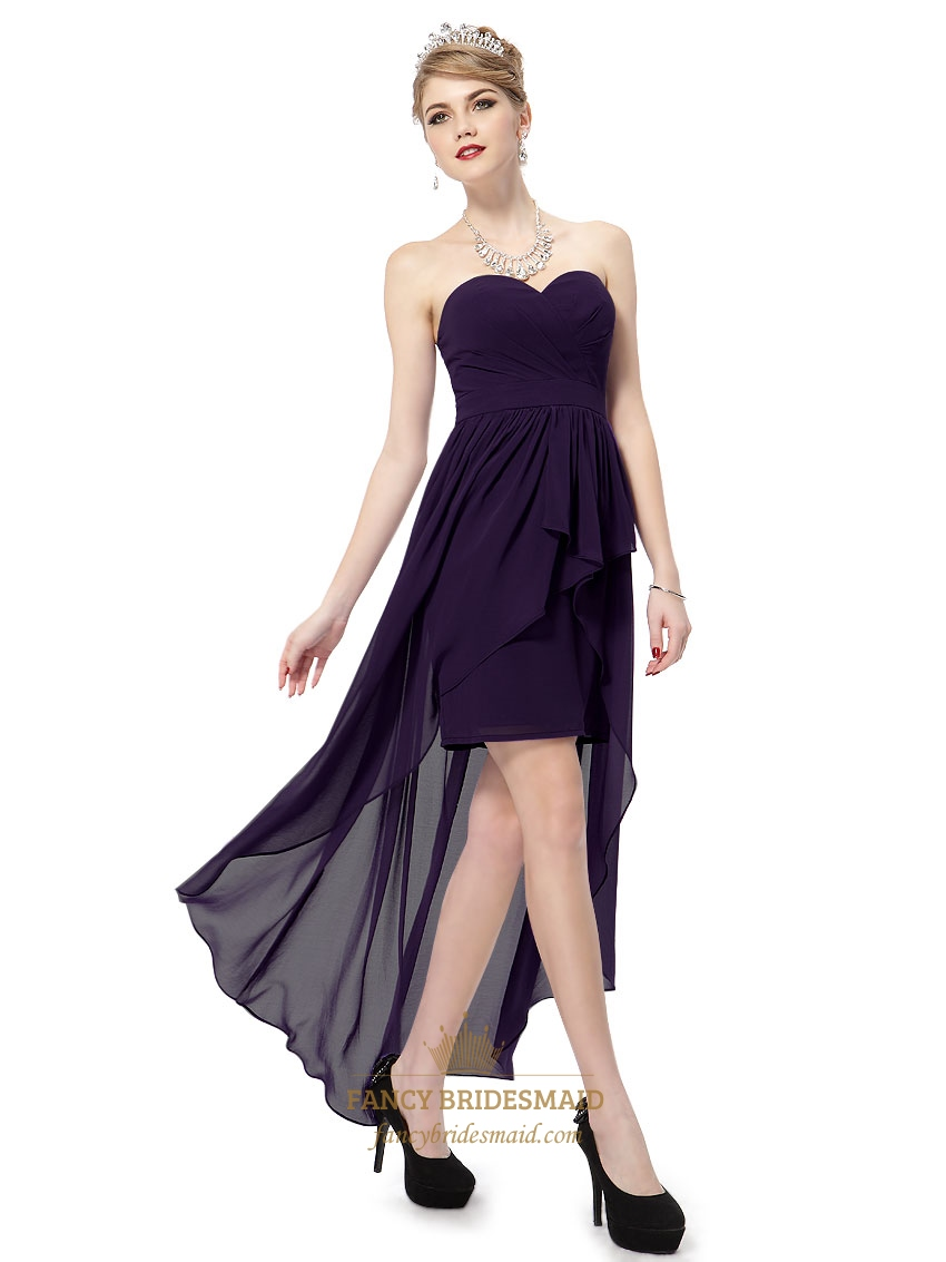 Dark Purple High Low Prom DressPurple Sweetheart Neckline Prom Dress Long