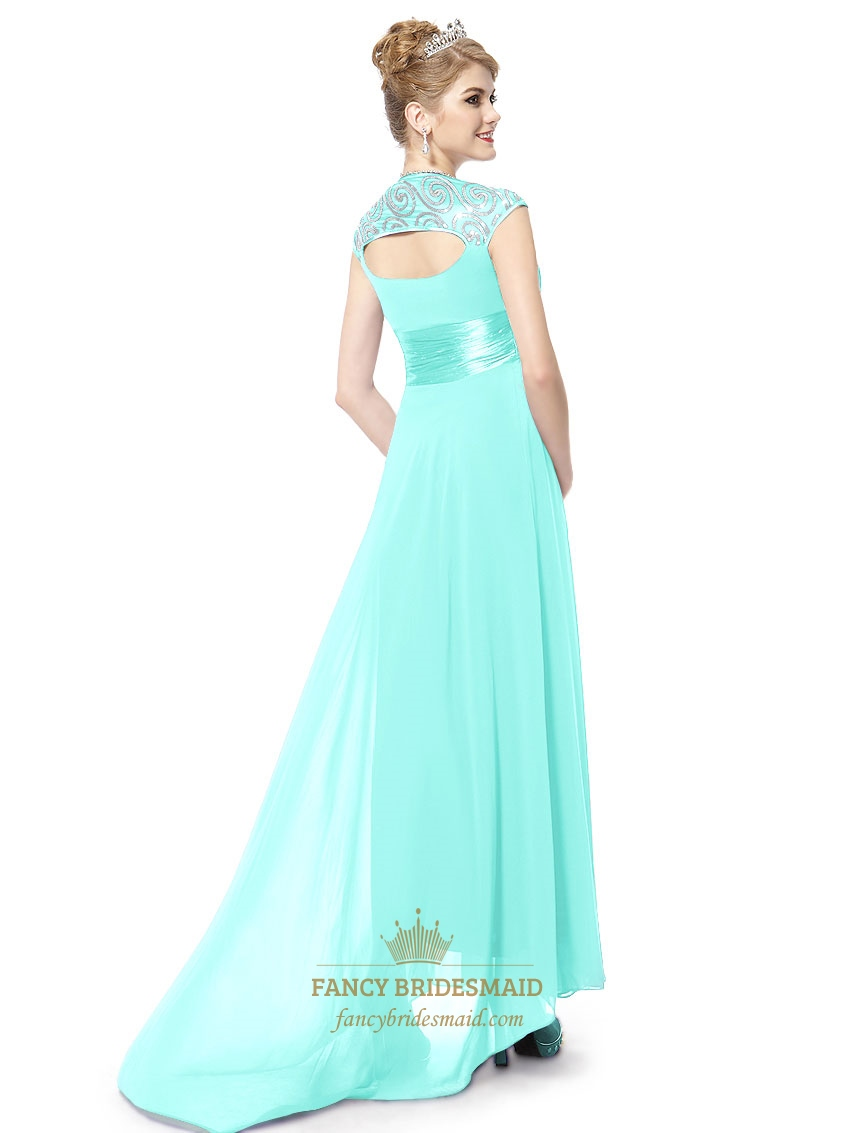 Long Aqua Prom Dresses With Cap Sleeves,Aqua Blue Evening Gown ...