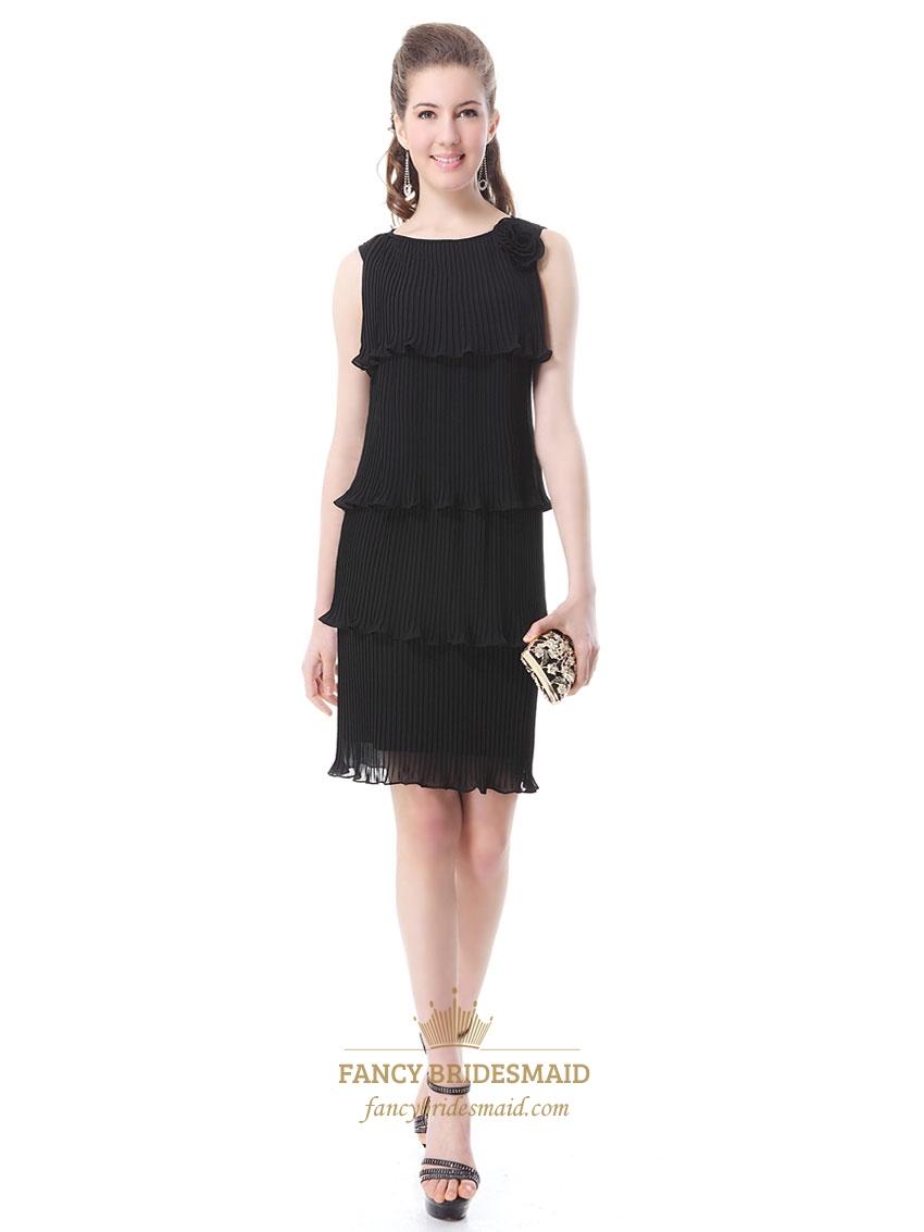 Short Black Flowy Dresses,Long Black Pleated Dress | Fancy ...