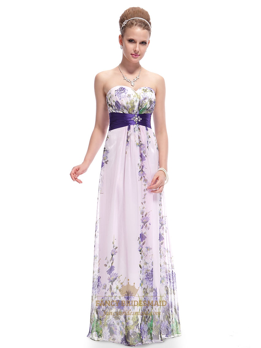 Lilac floral print chiffon prom dress floral print maxi for Print maxi dress for wedding