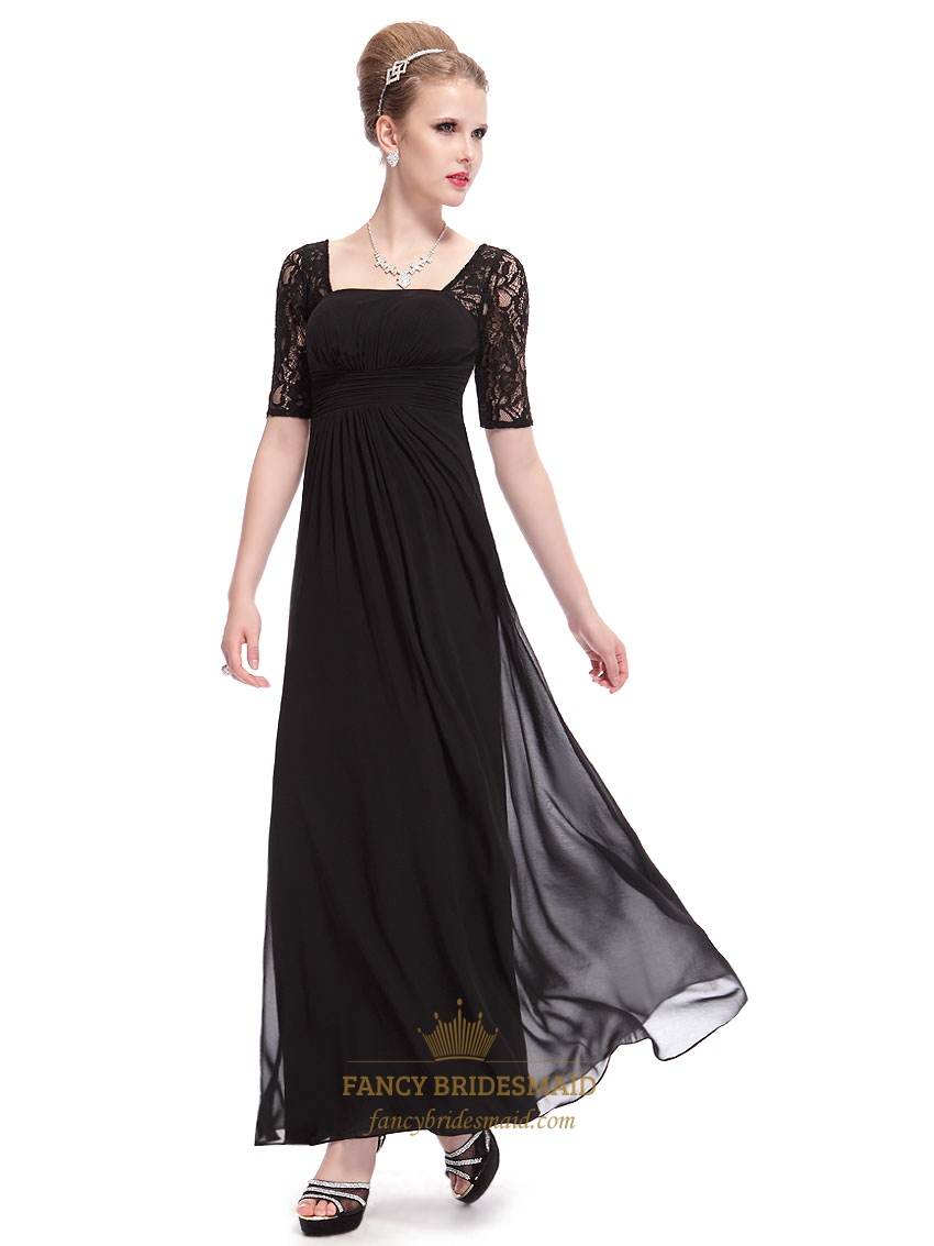 Fashion style Lace black bridesmaid dresses with sleeves for lady