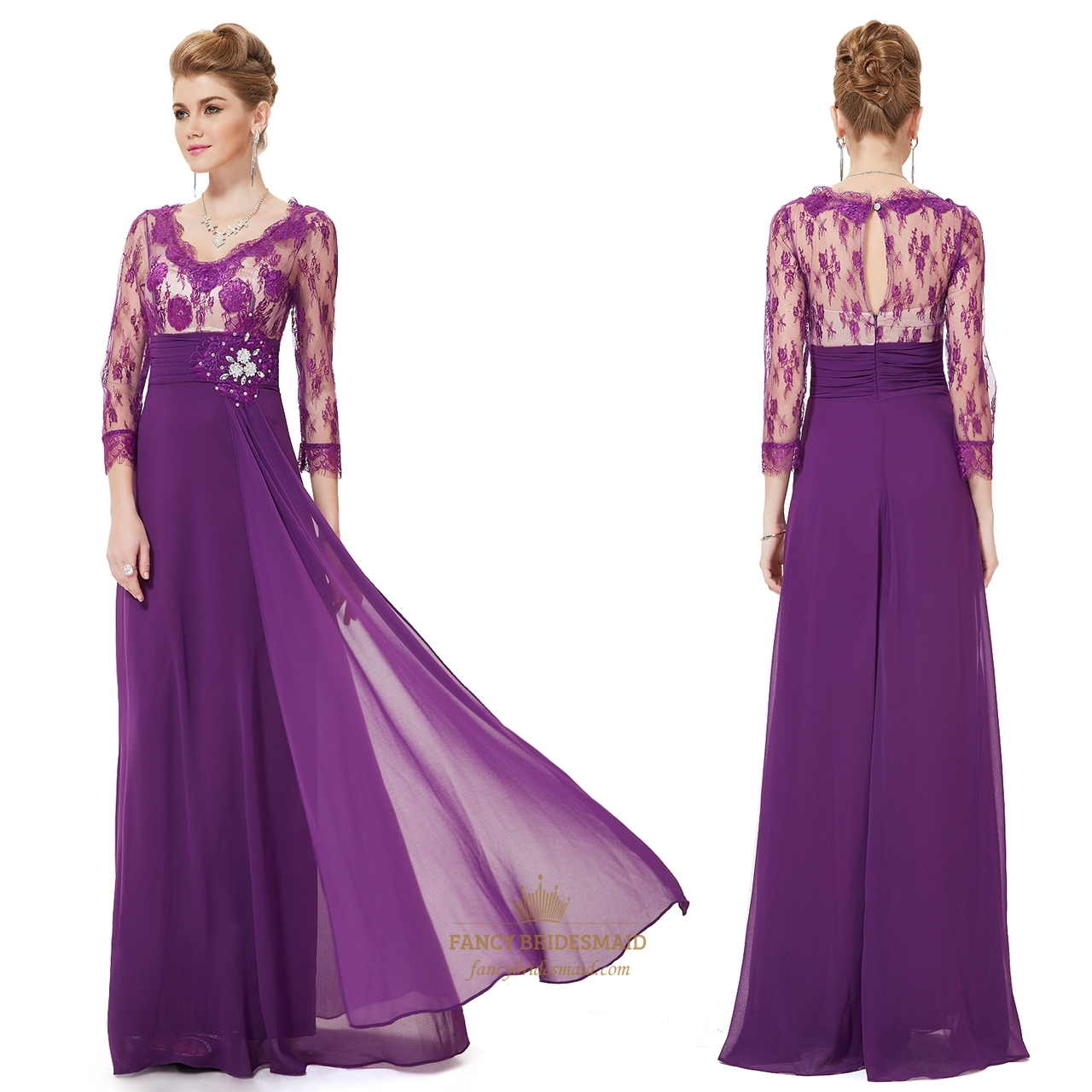 Purple Mother Of The Bride Dress With Sleeves Dresses Lace