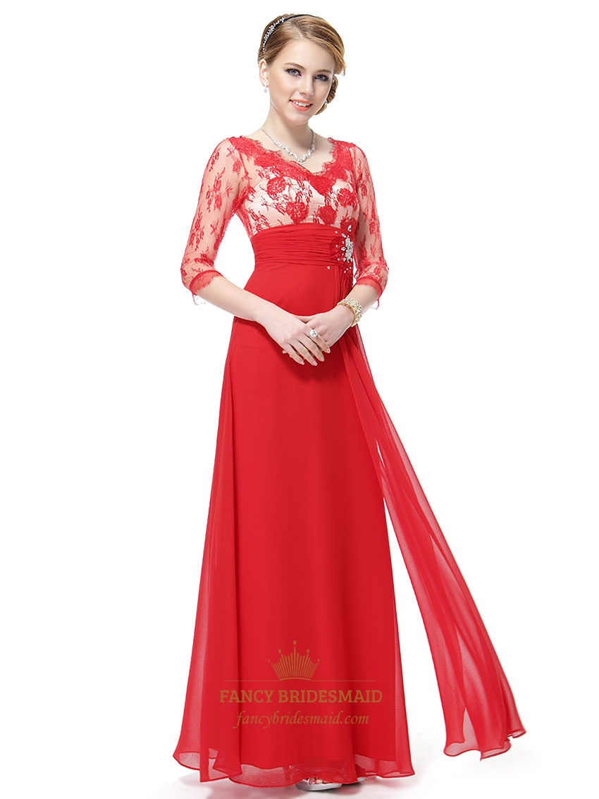 Red prom dresses long sleeves red lace prom dresses with for Red wedding dresses with sleeves