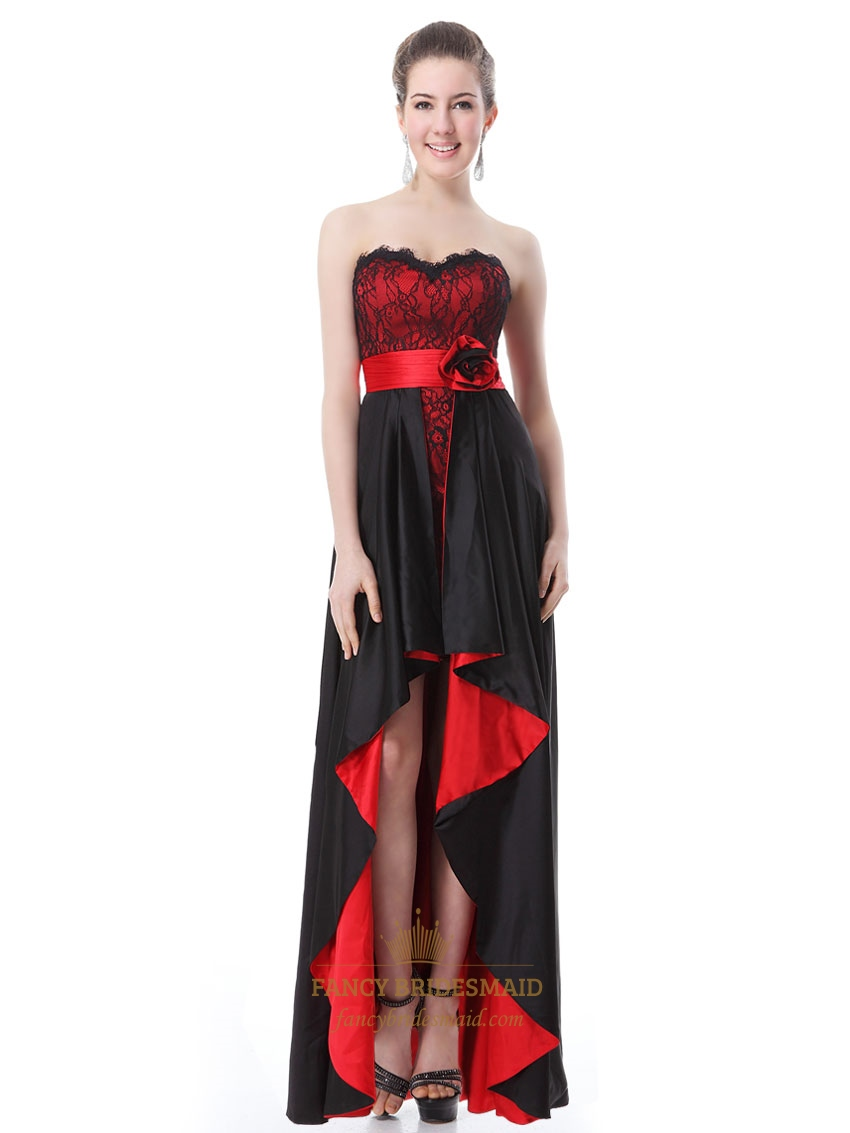 Black And Red High Low Prom Dresses,Red And