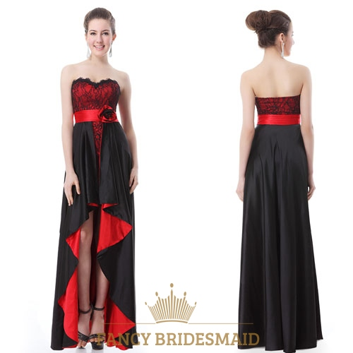 Black And Red High Low Prom Dresses,Red And Black High Low Prom ...