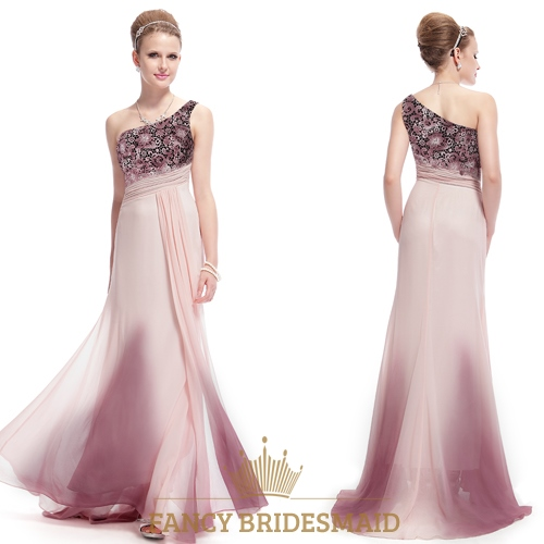 Light Pink One Shoulder Prom Dress With Embellished Shoulders,Long ...
