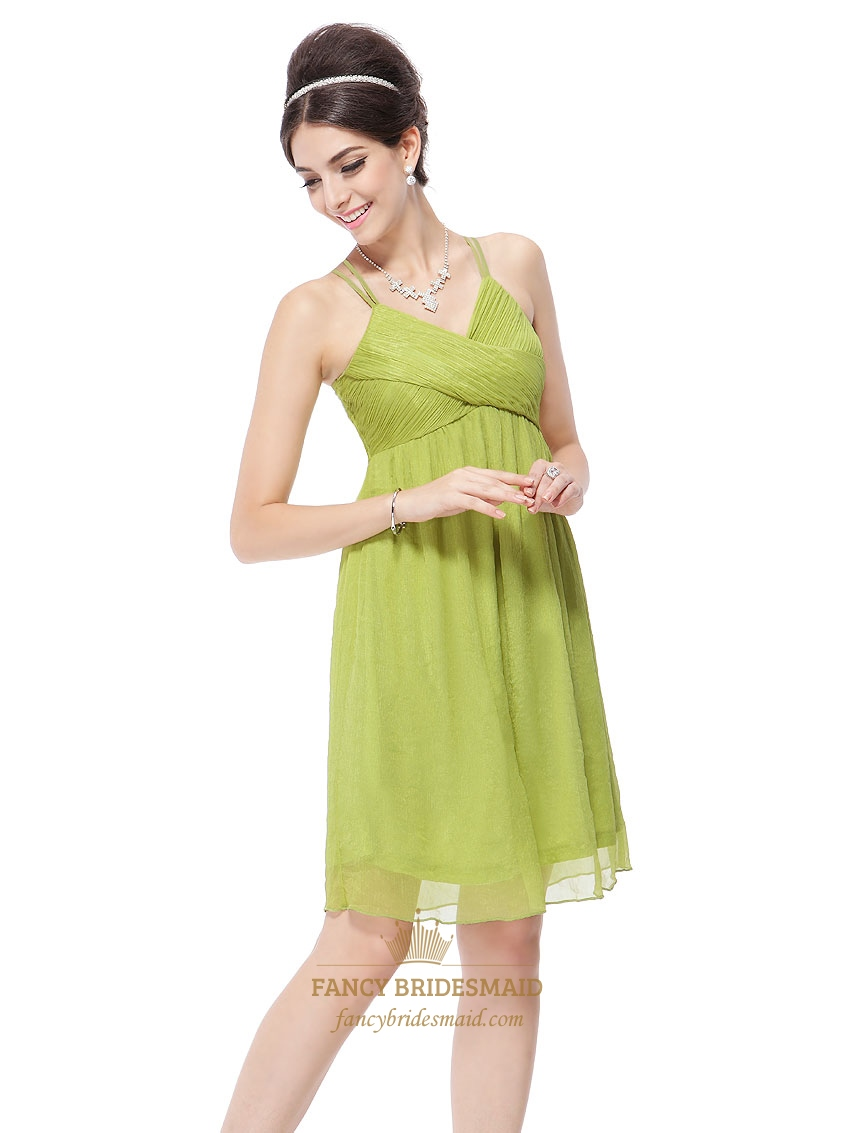 Lime Green Mini Dress,Lime Green Short Prom Dresses With Spaghetti ...