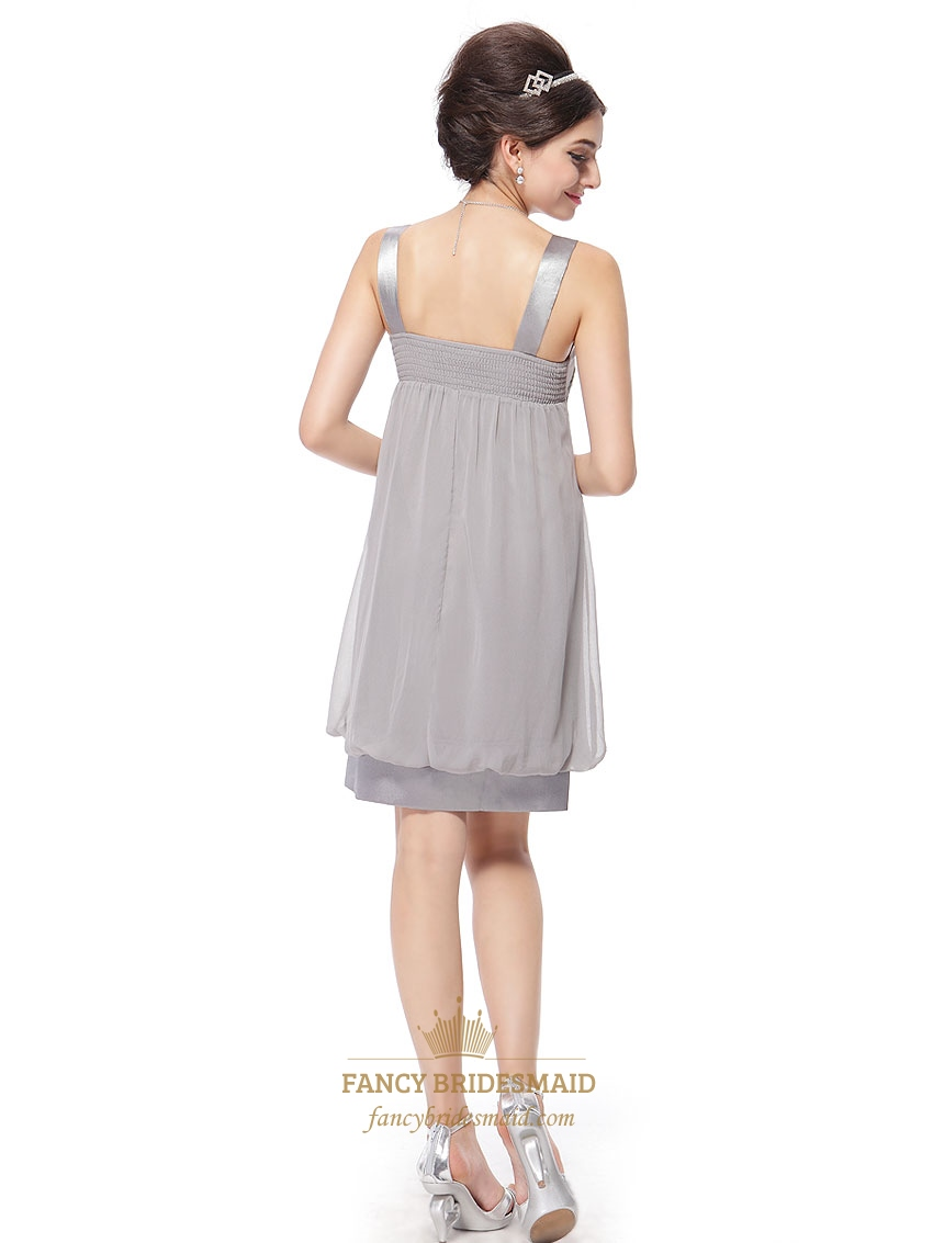 ceb4cfbb7f Silver Grey Cocktail Dresses With Straps