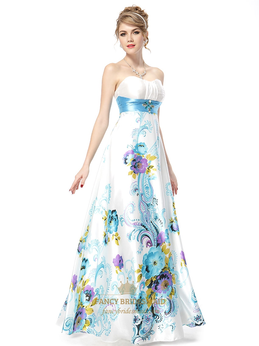 Floral maxi dress strapless