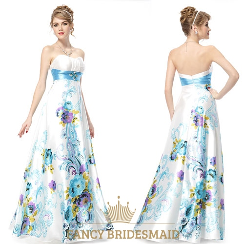 White strapless floral maxi dress white dress with green for White dresses for wedding guests
