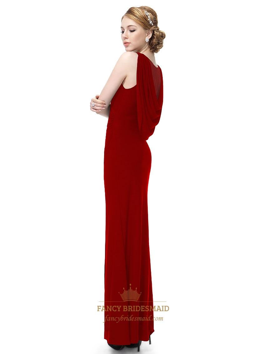 Red one shoulder bridesmaid dresses