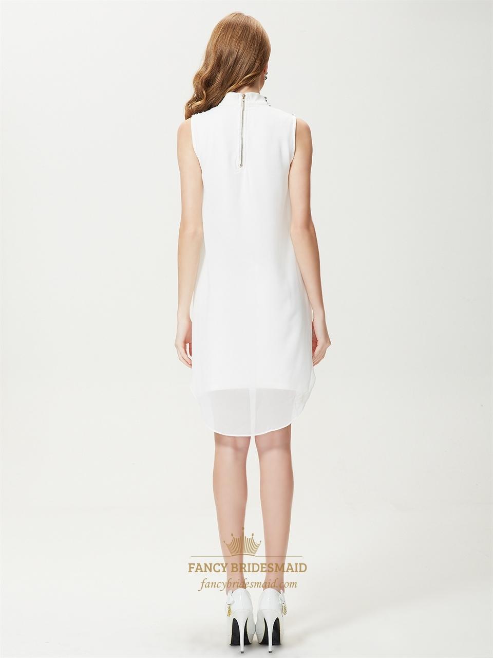 f9de594fe White High Neck Sleeveless Skater Dress,White Summer Dresses For Juniors
