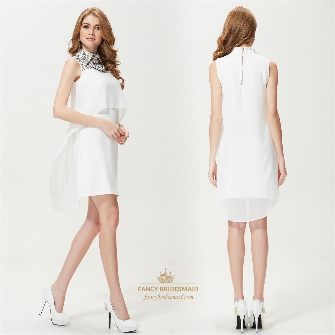 53d276302d4 White High Neck Sleeveless Skater Dress