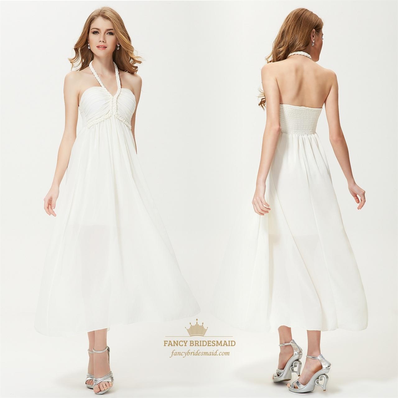 Long White Halter Sundress,White Halter Neck Summer Dress   Fancy ...
