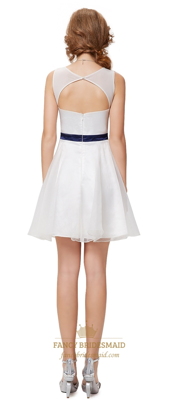 White Cocktail Dresses With Cutout Back White Graduation