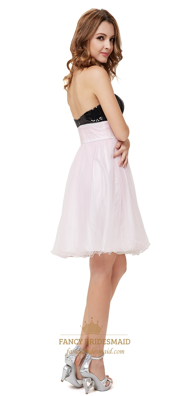 9a220f50ad7 Light Pink Cocktail Dress With Black Sequin Top,Black And Pink Cocktail  Dresses For Prom