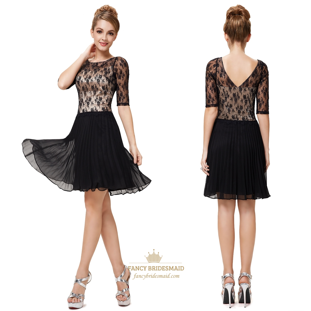 Black And White Cocktail Dresses With Sleeves For Juniors,Black Lace ...