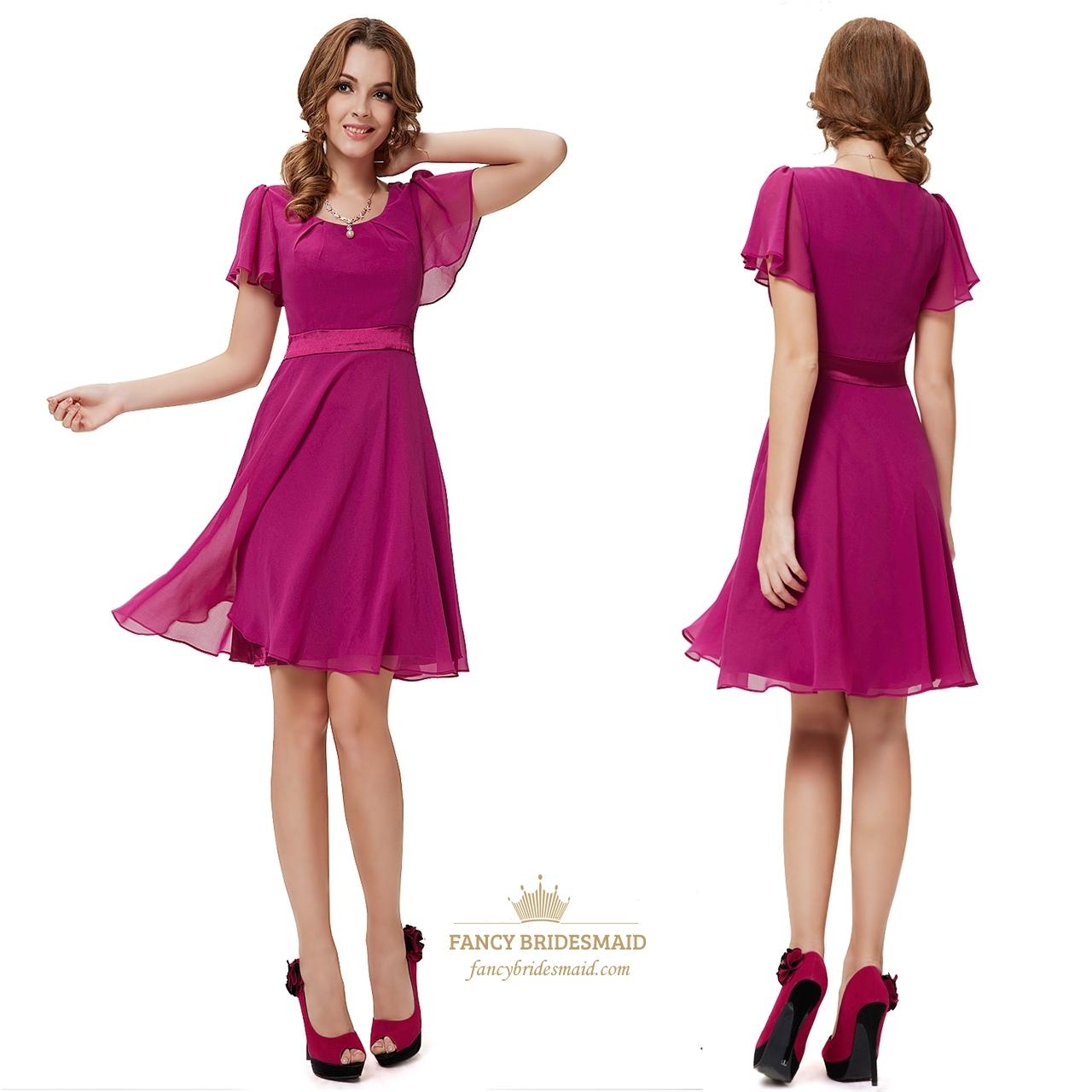 Pretty Short Purple Prom Dresses With Sleeves Purple