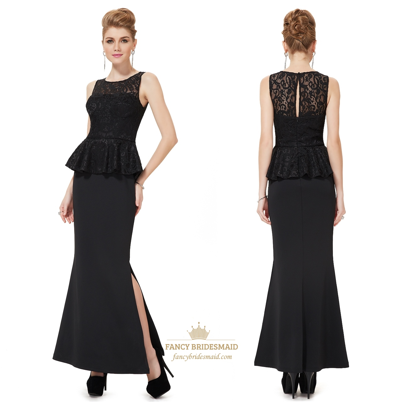 2019 year for girls- Lace black overlay bridesmaid dresses