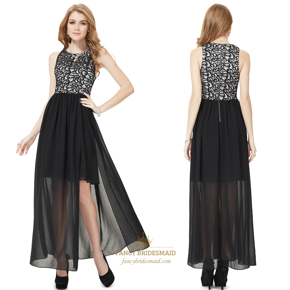 Black And White Prom Dresses With Slits Up The Side,Black Lace Top ...
